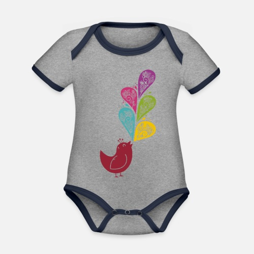 Singvogel - Baby Bio-Kurzarm-Kontrastbody