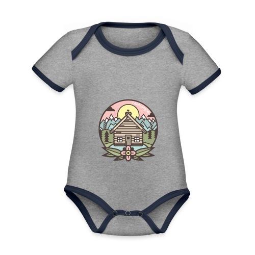 i hate people casa in montagna - Body da neonato a manica corta, ecologico e in contrasto cromatico