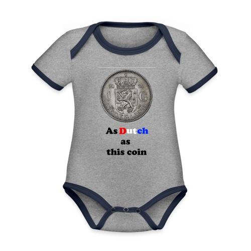 Hollandse Gulden - Baby contrasterend bio-rompertje met korte mouwen
