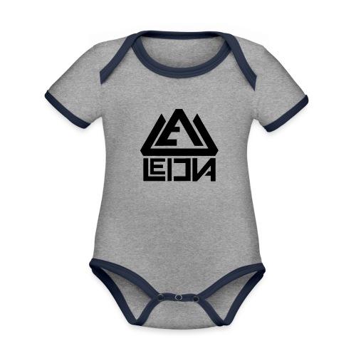 LEDUNA BLACK LOGO - Ekologisk kontrastfärgad kortärmad babybody