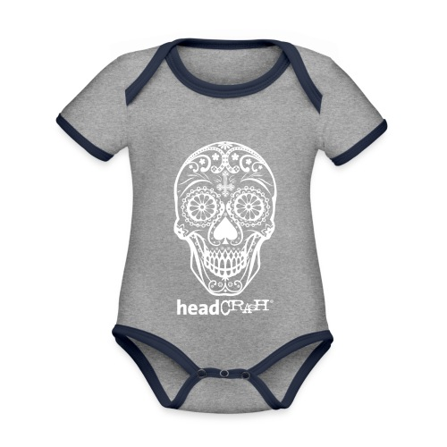 Skull & Logo white - Baby Bio-Kurzarm-Kontrastbody