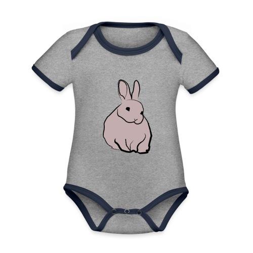 Piirros pupu - väri - Vauvan kontrastivärinen, lyhythihainen luomu-body