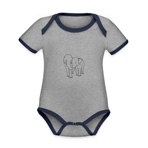 Olifanten - Baby contrasterend bio-rompertje met korte mouwen