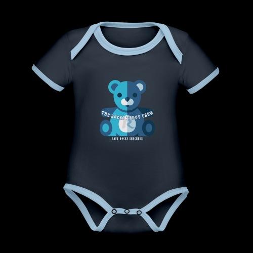 Rocks Teddy Bear - Blue - Baby contrasterend bio-rompertje met korte mouwen