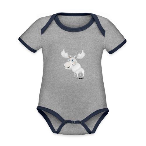 Łoś albinos - Ekologiczne body niemowlęce z krótkim rękawem i kontrastowymi lamówkami