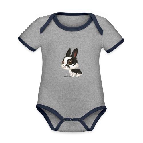 Królik - Ekologiczne body niemowlęce z krótkim rękawem i kontrastowymi lamówkami