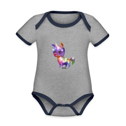 Llamacorn - Baby contrasterend bio-rompertje met korte mouwen
