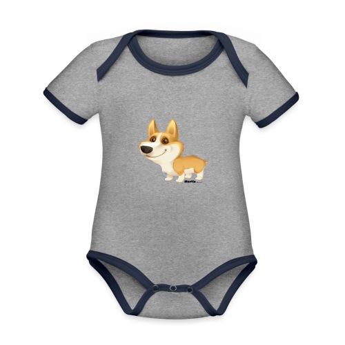 Corgi - Baby contrasterend bio-rompertje met korte mouwen