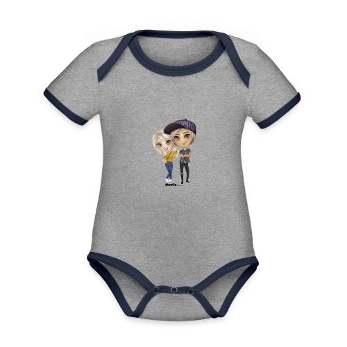 Emily & Lucas - Baby contrasterend bio-rompertje met korte mouwen