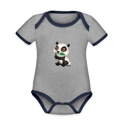 Panda - Baby contrasterend bio-rompertje met korte mouwen