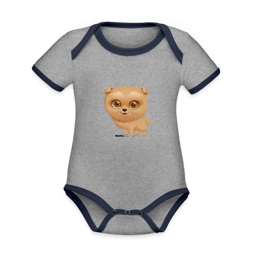 Dog - Baby contrasterend bio-rompertje met korte mouwen