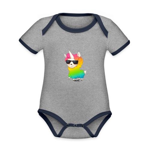 Regenboog animo - Baby contrasterend bio-rompertje met korte mouwen