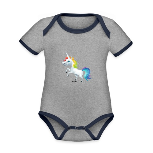 Rainbow yksisarvinen - Vauvan kontrastivärinen, lyhythihainen luomu-body