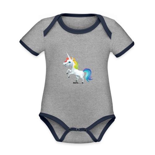 Regenbogen-Einhorn - Baby Bio-Kurzarm-Kontrastbody