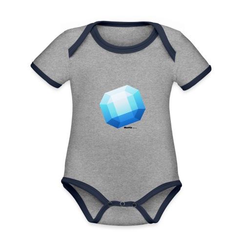 Saffier - Baby contrasterend bio-rompertje met korte mouwen
