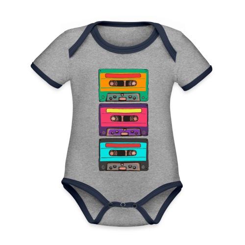 Colorful Cassettes row - Ekologisk kontrastfärgad kortärmad babybody