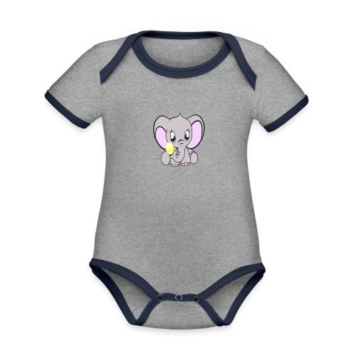 Baby olifantje met rammelaar - Baby contrasterend bio-rompertje met korte mouwen
