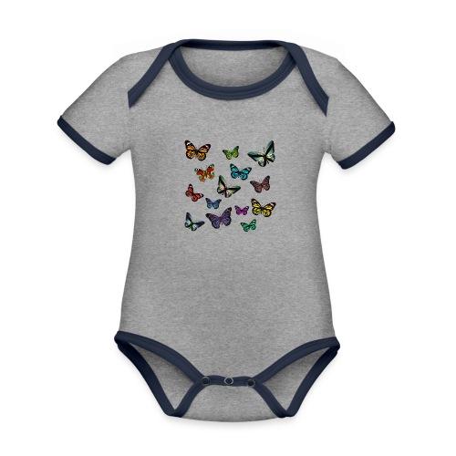 Butterflies flying - Ekologisk kontrastfärgad kortärmad babybody