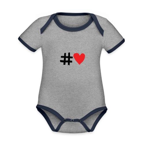 #Love - Kortærmet økologisk babybody i kontrastfarver