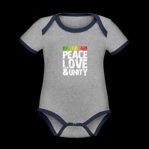 RASTAFARI - PEACE LOVE & UNITY - Baby Bio-Kurzarm-Kontrastbody
