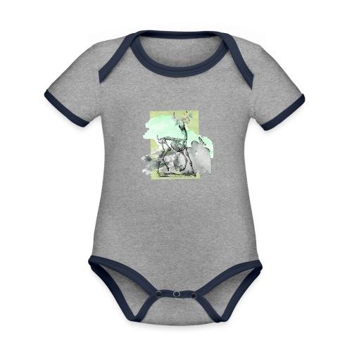 Flowery Deer Skeleton - Baby Bio-Kurzarm-Kontrastbody