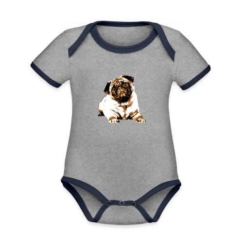 Pug Sepia - Baby Bio-Kurzarm-Kontrastbody