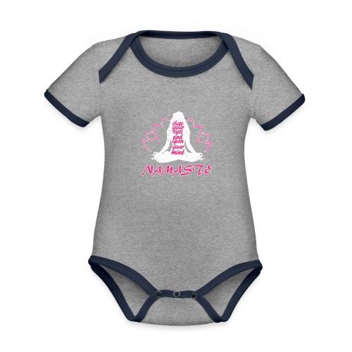 chiudi gli occhi namaste yoga pace amore sport arte - Body da neonato a manica corta, ecologico e in contrasto cromatico