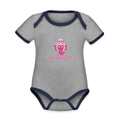 shiva rose namaste yoga pace amore hippie fitness - Body da neonato a manica corta, ecologico e in contrasto cromatico