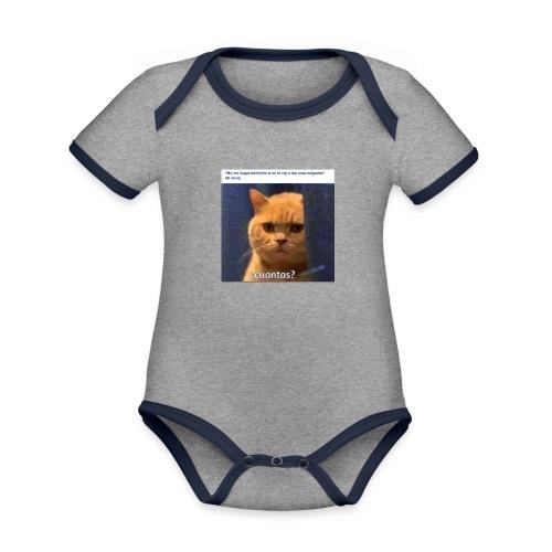 Cat nalgadas - Body contraste para bebé de tejido orgánico
