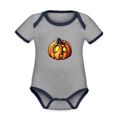 Pumpkin Halloween watercolor scribblesirii - Baby Bio-Kurzarm-Kontrastbody