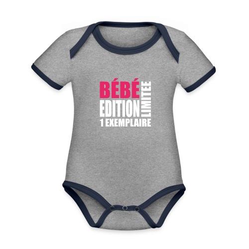 Bébé édition limitée 1 exemplaire - rose et blanc - Body Bébé bio contrasté manches courtes