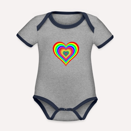 Heart In Hearts Print Design on T-shirt Apparel - Organic Baby Contrasting Bodysuit
