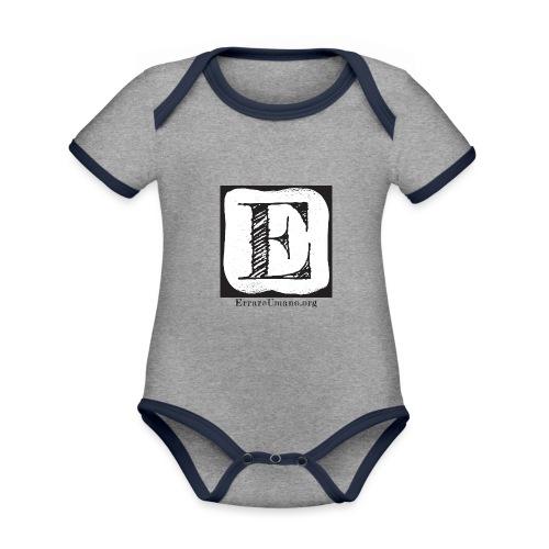 Logo ErrareUmano (scritta nera) - Body da neonato a manica corta, ecologico e in contrasto cromatico
