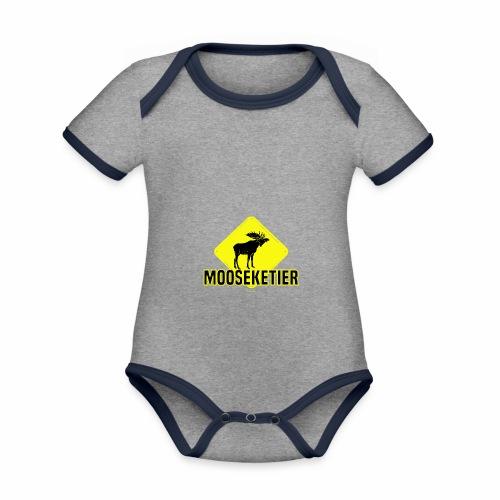 Moosketier - Baby contrasterend bio-rompertje met korte mouwen