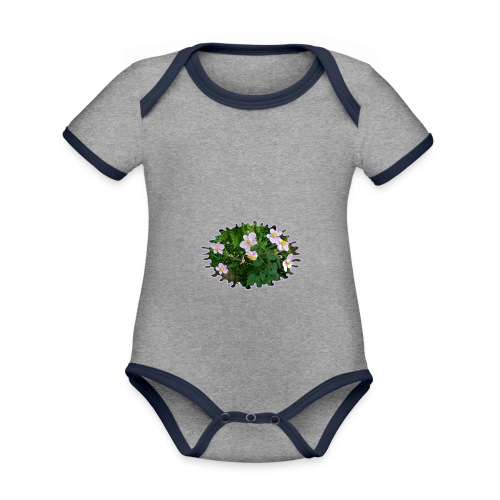 Blümchen hellviolett - Baby Bio-Kurzarm-Kontrastbody