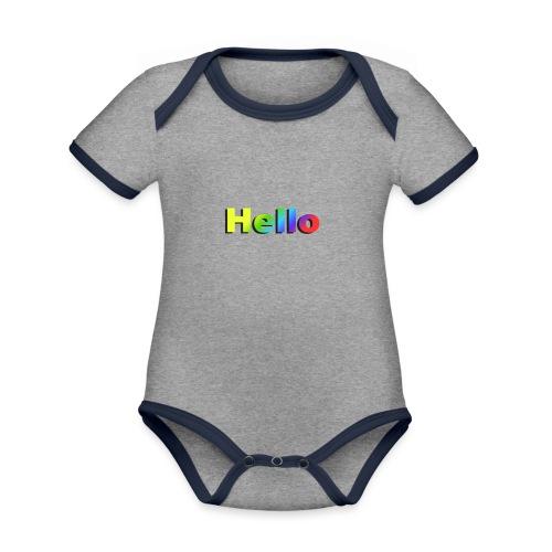 Hello - Ekologiczne body niemowlęce z krótkim rękawem i kontrastowymi lamówkami