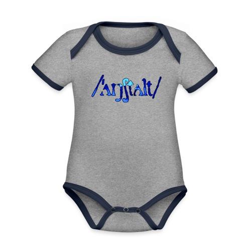 /'angstalt/ logo gerastert (blau/schwarz) - Baby Bio-Kurzarm-Kontrastbody