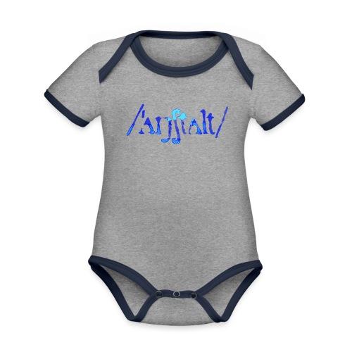 /'angstalt/ logo gerastert (blau/transparent) - Baby Bio-Kurzarm-Kontrastbody