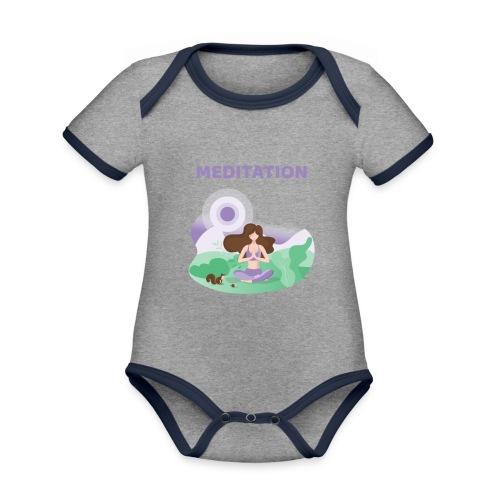 Yoga Meditation - Body da neonato a manica corta, ecologico e in contrasto cromatico