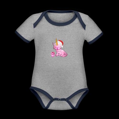 Licorne père noël - Body Bébé bio contrasté manches courtes