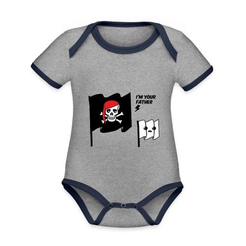 i'm your father flag - Body da neonato a manica corta, ecologico e in contrasto cromatico