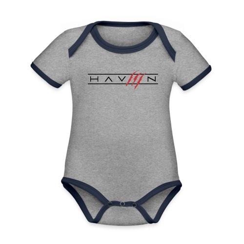 Logo Zwart - Baby contrasterend bio-rompertje met korte mouwen