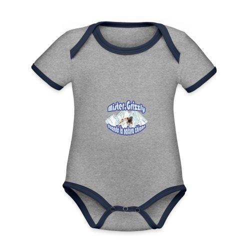 MISTER GRIZZLY - Body da neonato a manica corta, ecologico e in contrasto cromatico