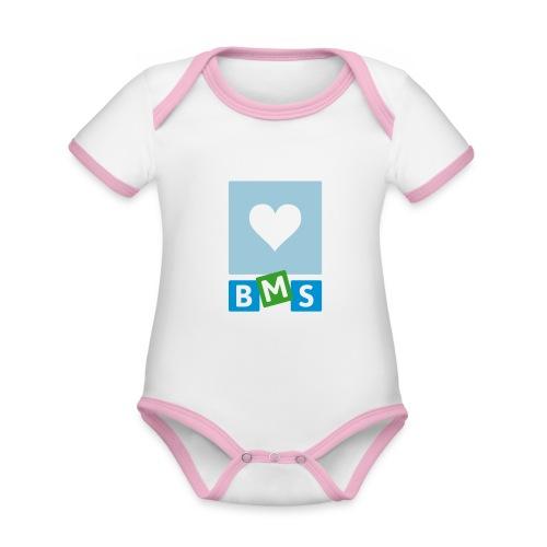 LOVE BMS - Baby contrasterend bio-rompertje met korte mouwen