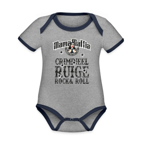 Crimineel Ruige Rock & & Roll Shirt - Baby contrasterend bio-rompertje met korte mouwen