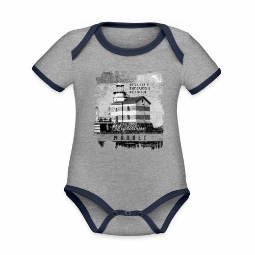 Märket majakkatuotteet, Finland Lighthouse, Harmaa - Vauvan kontrastivärinen, lyhythihainen luomu-body