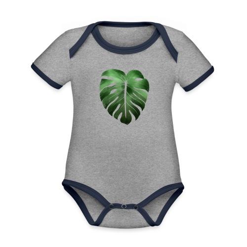 Foglia dalla Natura - Body da neonato a manica corta, ecologico e in contrasto cromatico