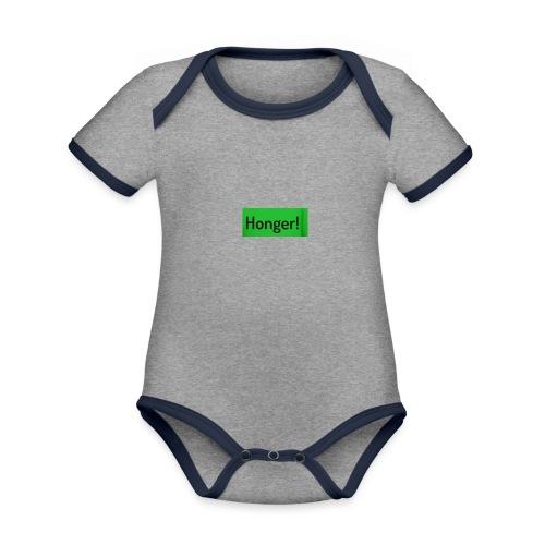 Honer - Baby contrasterend bio-rompertje met korte mouwen