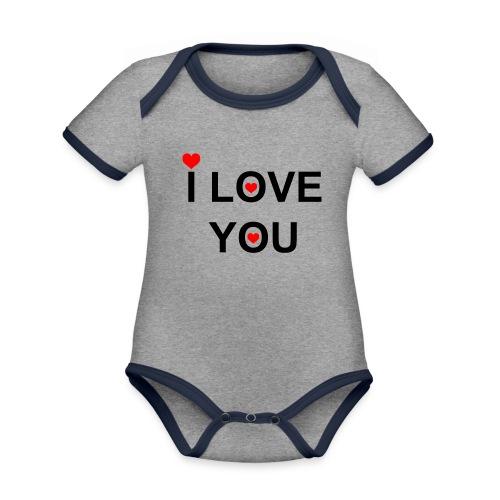 iloveyou - Baby contrasterend bio-rompertje met korte mouwen
