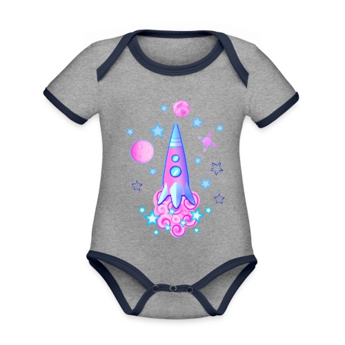 pink space rocket with stars and planets - Organic Baby Contrasting Bodysuit